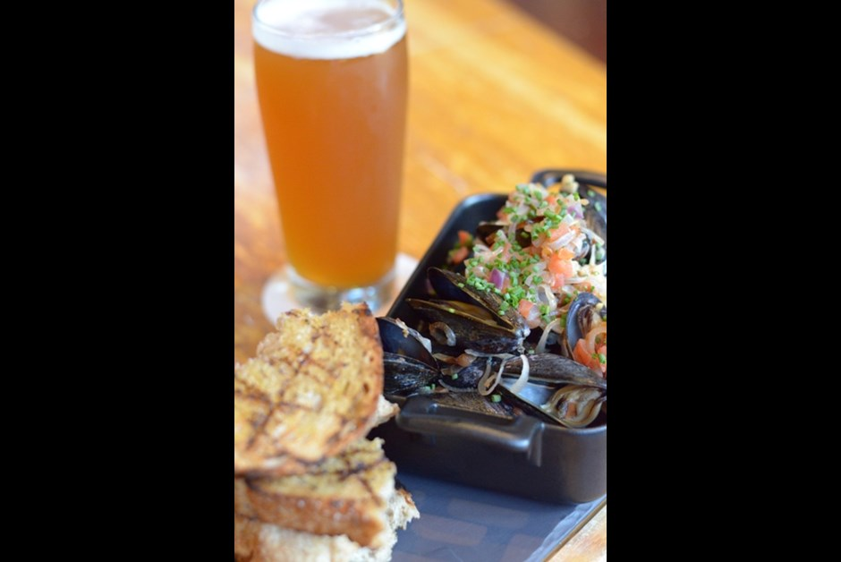 Salt Spring Island Mussels Cooked in Whistler Whiskey Jack Ale