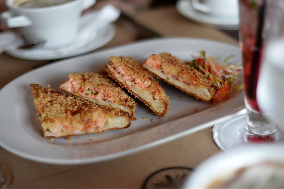 Fried prawn toast with chilli vinegar at Long Bar