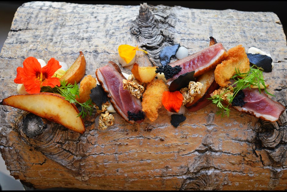 Pan Roasted Duck Breast with Fermented Pear, Pear and Parsnip Puree, Charcoal Meringue, Savoury Granola and Parmesan Gel