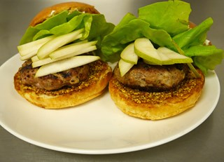 Autumn Goat Cheese and Pear Turkey Burger