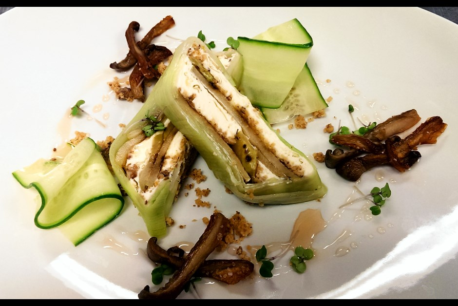 Goat cheese terrine with grilled pears