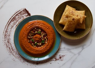 Mohammarah - Roasted Red Pepper and Walnut Mezze with Chickpea Tofu Sumac Crackers