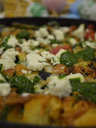 Roasted Vegetable and Salt Spring Island Goat Cheese Strata
