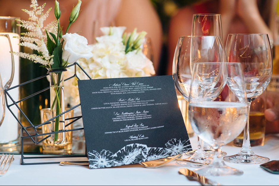 Menus at the Ocean Club by GLDN events