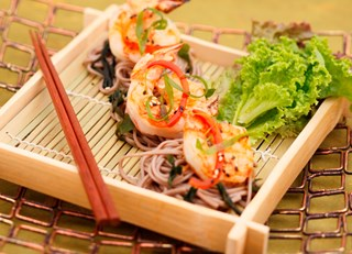 Grilled Miso Shrimp with Soba Noodles