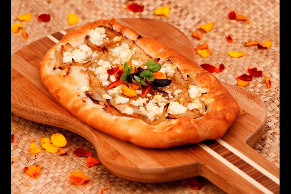 Surfing Goat Dairy Cheese Flat Bread with Caramelized Kula Onions