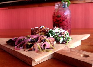 Smoked Tri-Tip with Tomatillo BBQ Sauce and Pickled Red Onions & Blackberry Prosecco Mojito