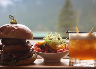 The Smokey Bear Burger & Mid Summer Stream Cocktail