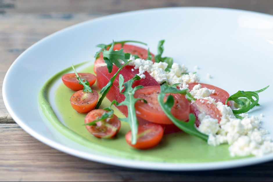 Compressed Watermelon and Feta Salad