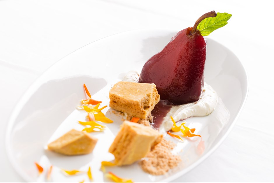 Festive Poached Pears with Sponge Toffee